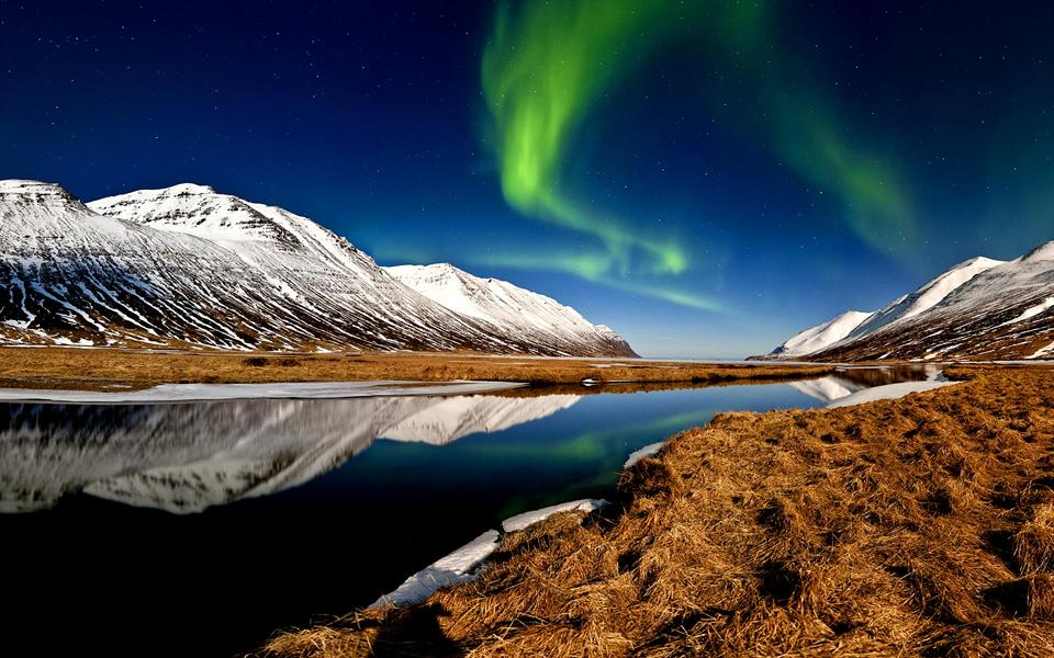 Northern lights in Héðinsfjörður in East Iceland