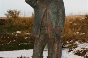 A statue of Jón Ósmann, a ferryman who transported people over Vesturós, before a bridge was built over the estuary in 1925. He was an eccentric man and is a legendary character in Skagafjörður area.