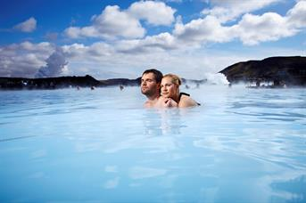 Romantic couple in the Blue Lagoon in Iceland