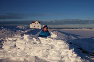Building a snow fortress during winter