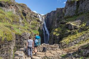 Hiking to Glymur Waterfall in Botnsdalur
