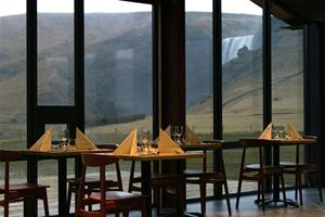 Restaurant with a view towards Skógafoss