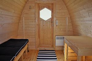 Inside a camping pod