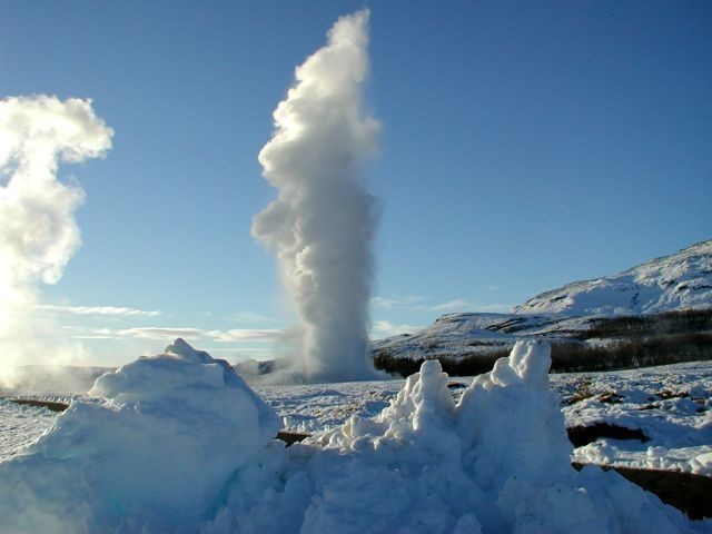 Geysir hot spring in winter