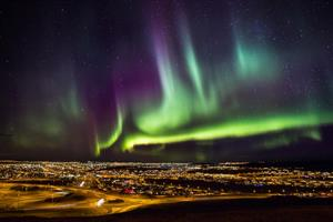 Northern lights over Reykjavík (add extra days to tour)