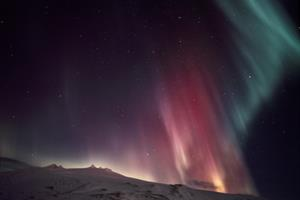 Northen lights over Snæfellsjökull peninsula