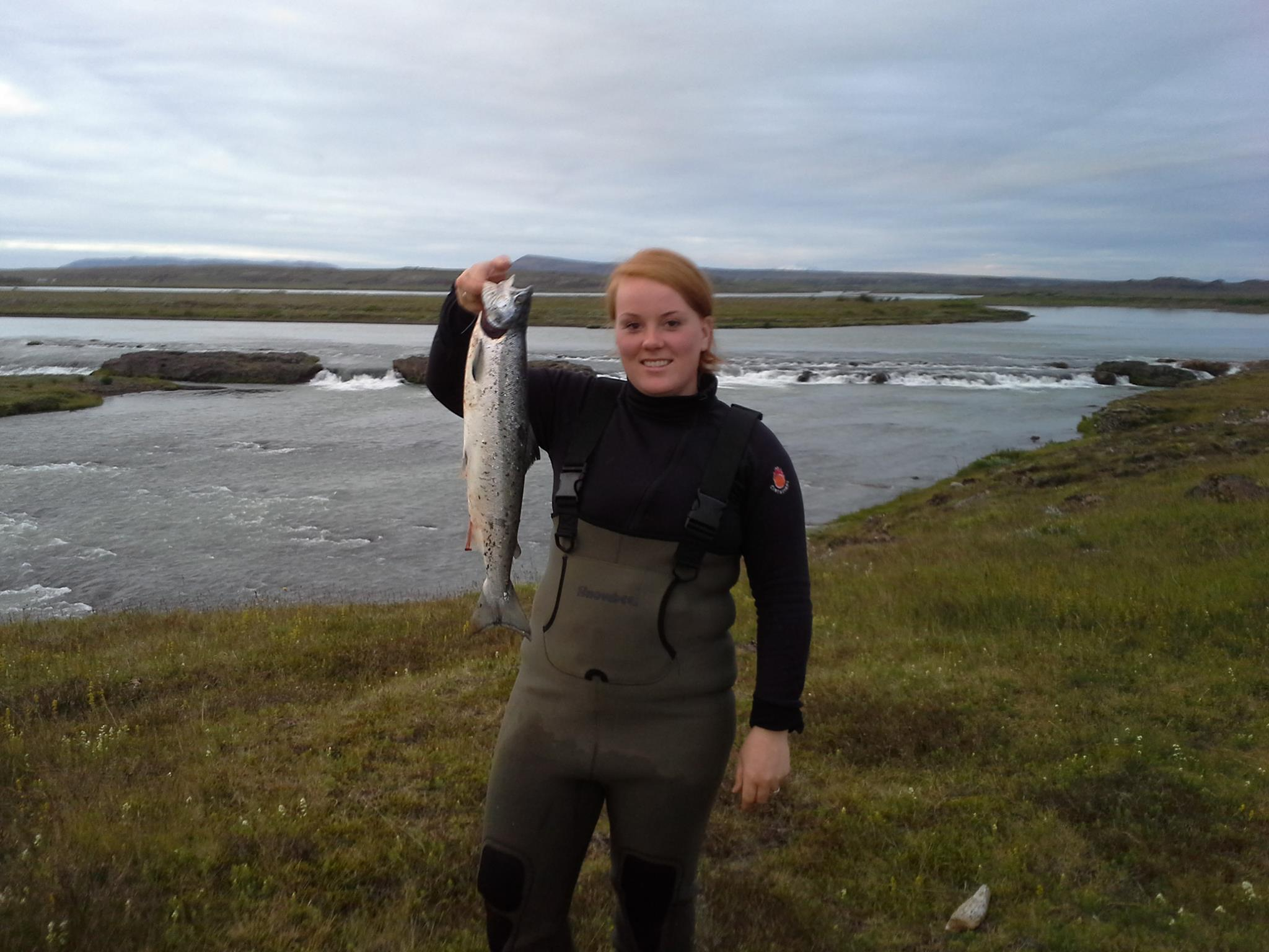 Valgerdur fishing in South Iceland