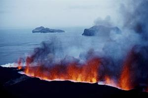 Volcano eruption in Westman Island 1973