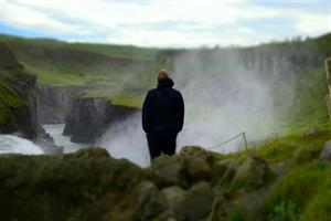 Looking out over Gullfoss waterfall - South