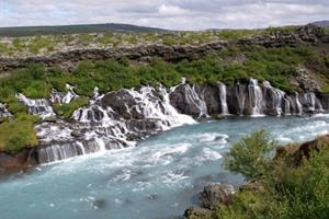Hraunfossar and Barnafossar waterfalls - West