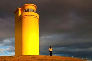 Yellow lighthouse at Húsavík - North