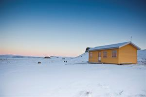 Sunset Cottage at Fossatún in wintertime