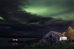 Northern lights over Lagarfljót