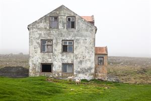 The abandoned farm Heiði in Langanes