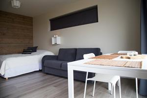 Bjarg - Studio apartment with a double bed and a sofa bed.