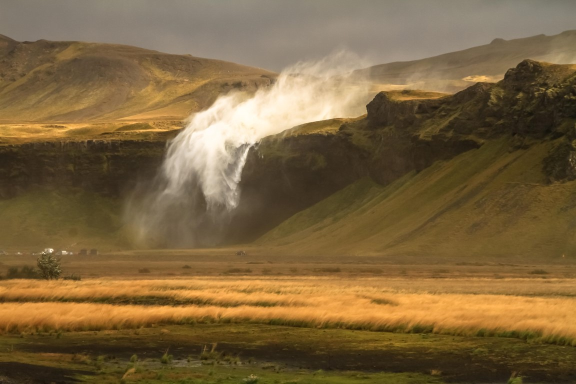 29 meters per second at Seljalandsfoss South Iceland @Monique Hopf