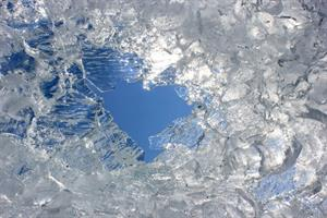 Glacial ice on a bright day