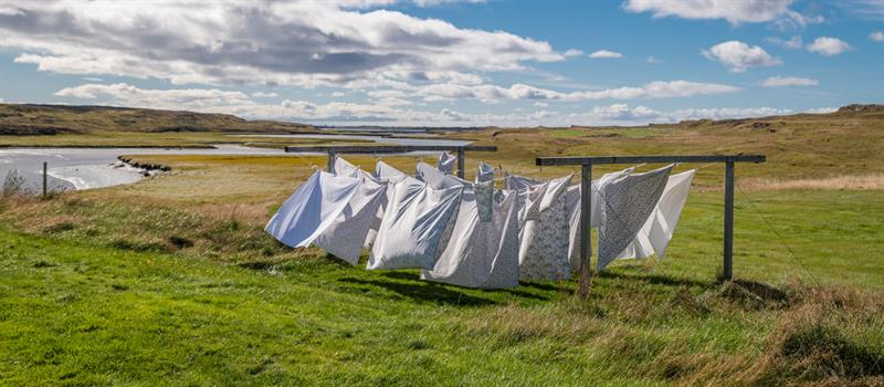 Laundry drying at accommodation Ensku Húsin in West Iceland