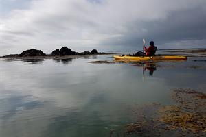Enjoy paddling on a sit-on-top kayak amidst skerries by the shore