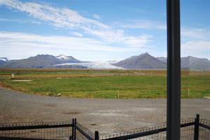 Beautiful view towards Fláajökull Glacier from the restaurant