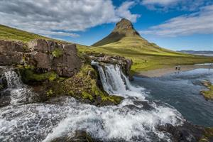 Mt. Kirkjufell and waterfall Kirkjufellsfoss West Iceland