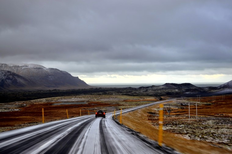 Driving in Iceland icy road