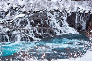 Hraunfossar Falls in Winter