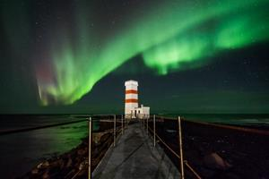 Northern Lights over Garður Lighthouse