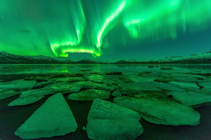 Northern Lights by Glacier Lagoon Iceland