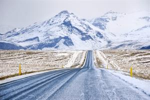 Icelandic wintry road