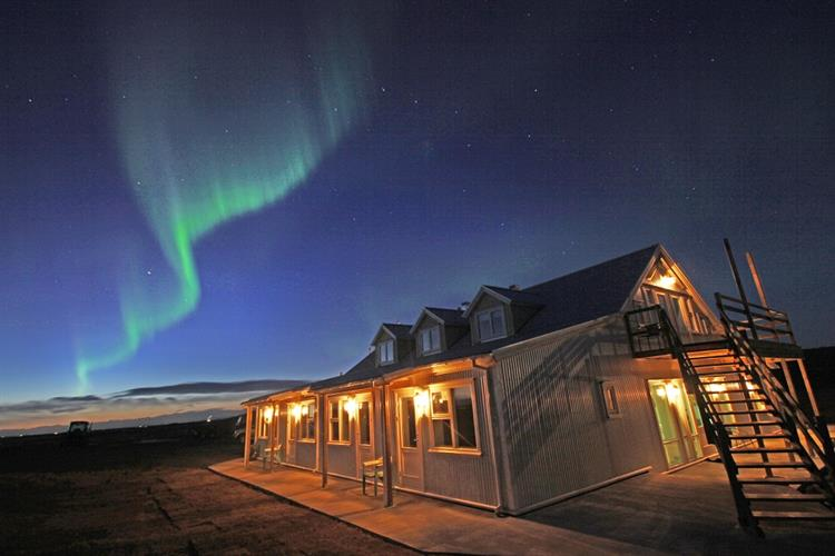 Hotel Lækur in South Iceland is one of the best places to watch the Northern Lights