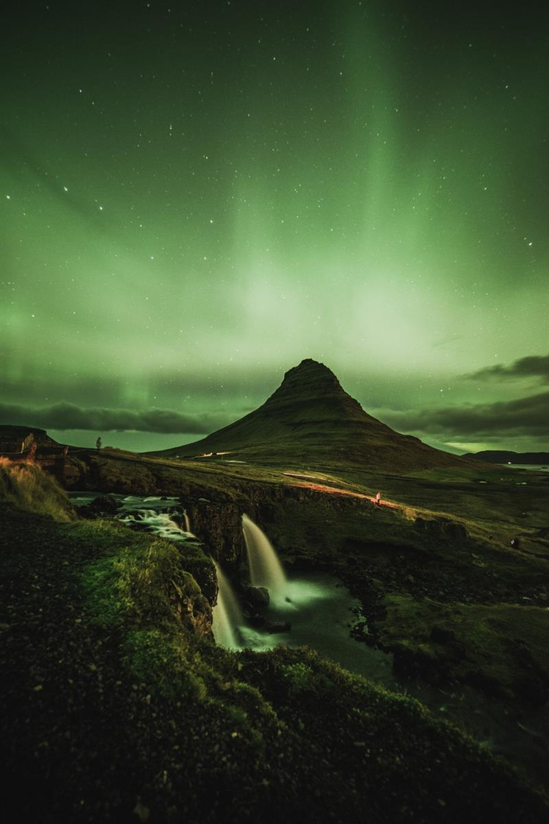 Northern Lights over Kirkjufell in Iceland