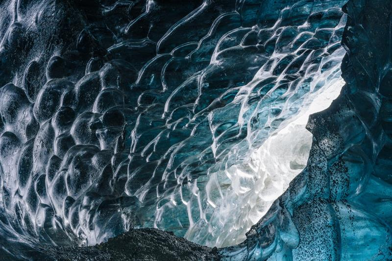 Most Icelandic ice caves are carved by glacial streams
