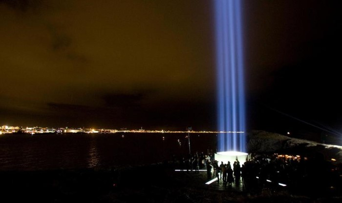 Imagine Peace Tower on Viðey Island