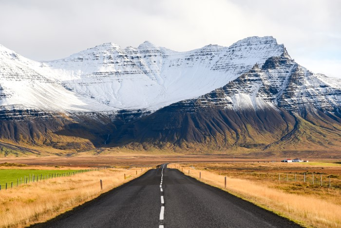 Road trip with mountain views in Iceland