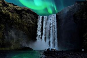 Northern Lights over Skógafoss Waterfall