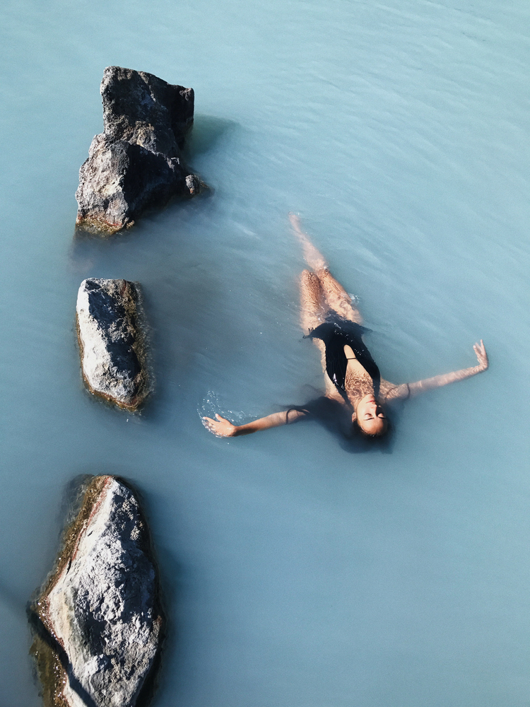 Floating in an Icelandic hot spring