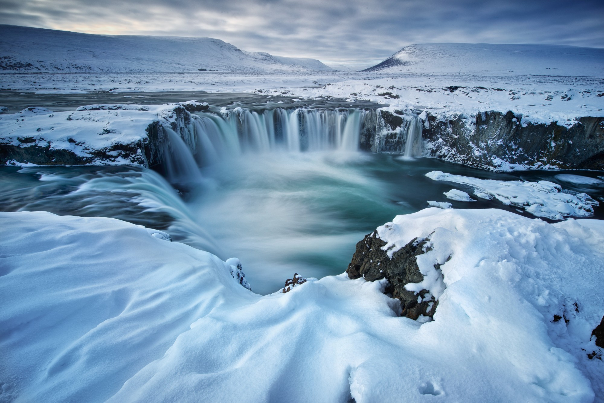 Goðafoss Waterfall under a blanket of snow