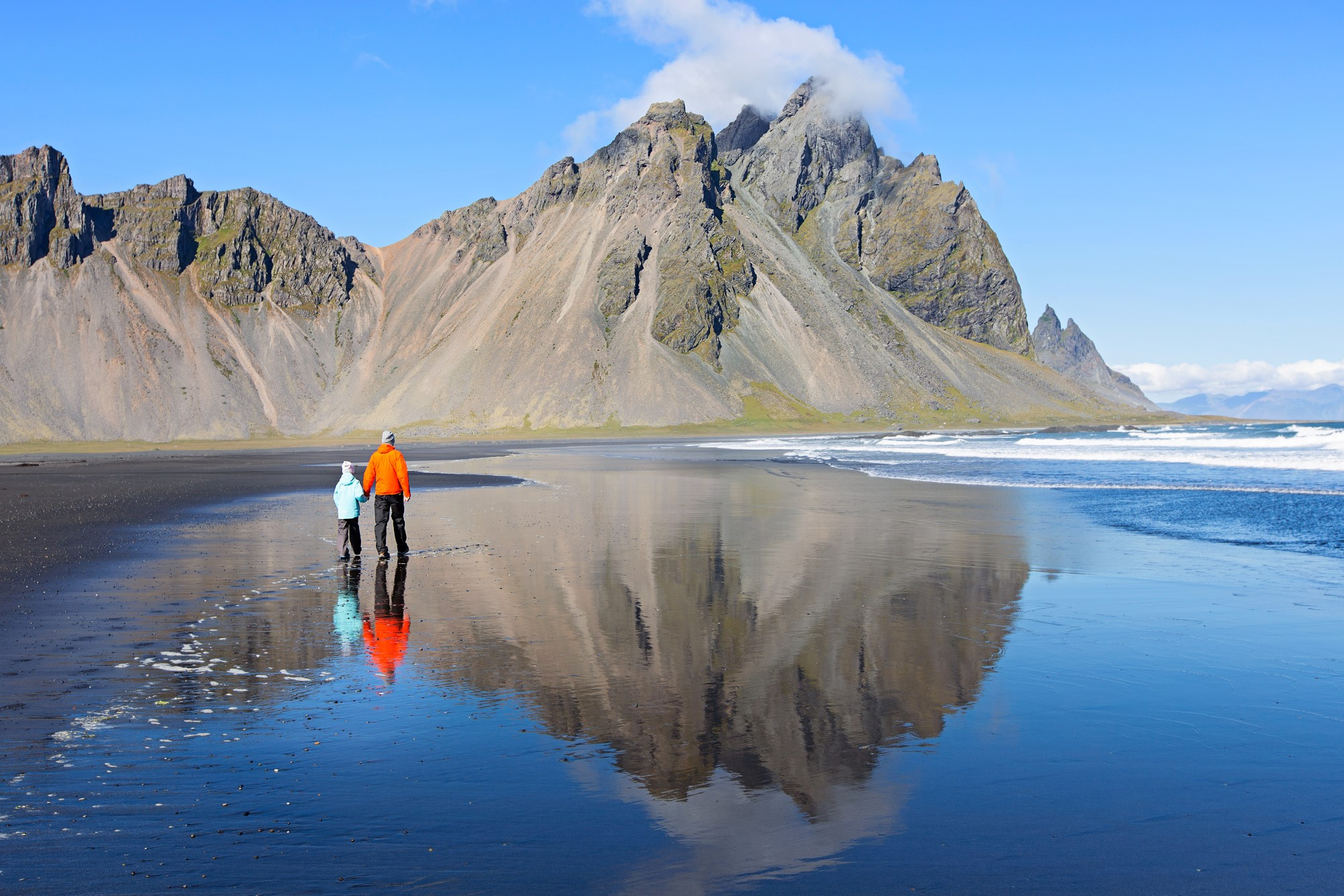 Father and son neat Vestrahorn Mountain