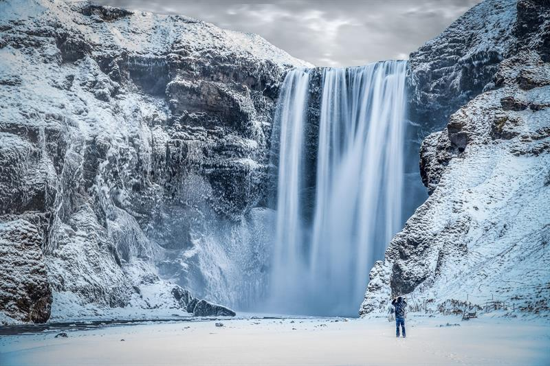 Skógafoss Waterfall in South Iceland (Winter)