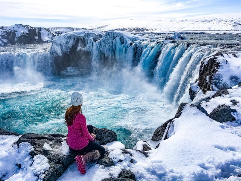 Goðafoss Waterfall in North Iceland (Winter)