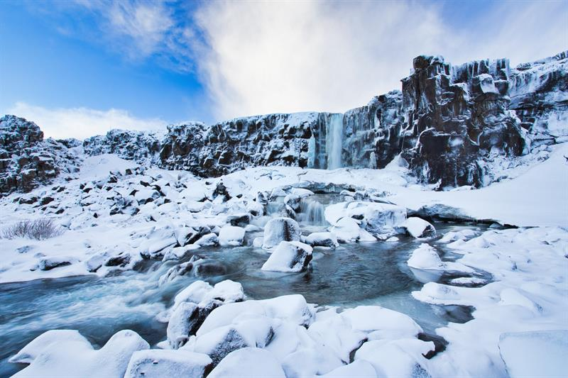 Oxararfoss in Iceland in Winter