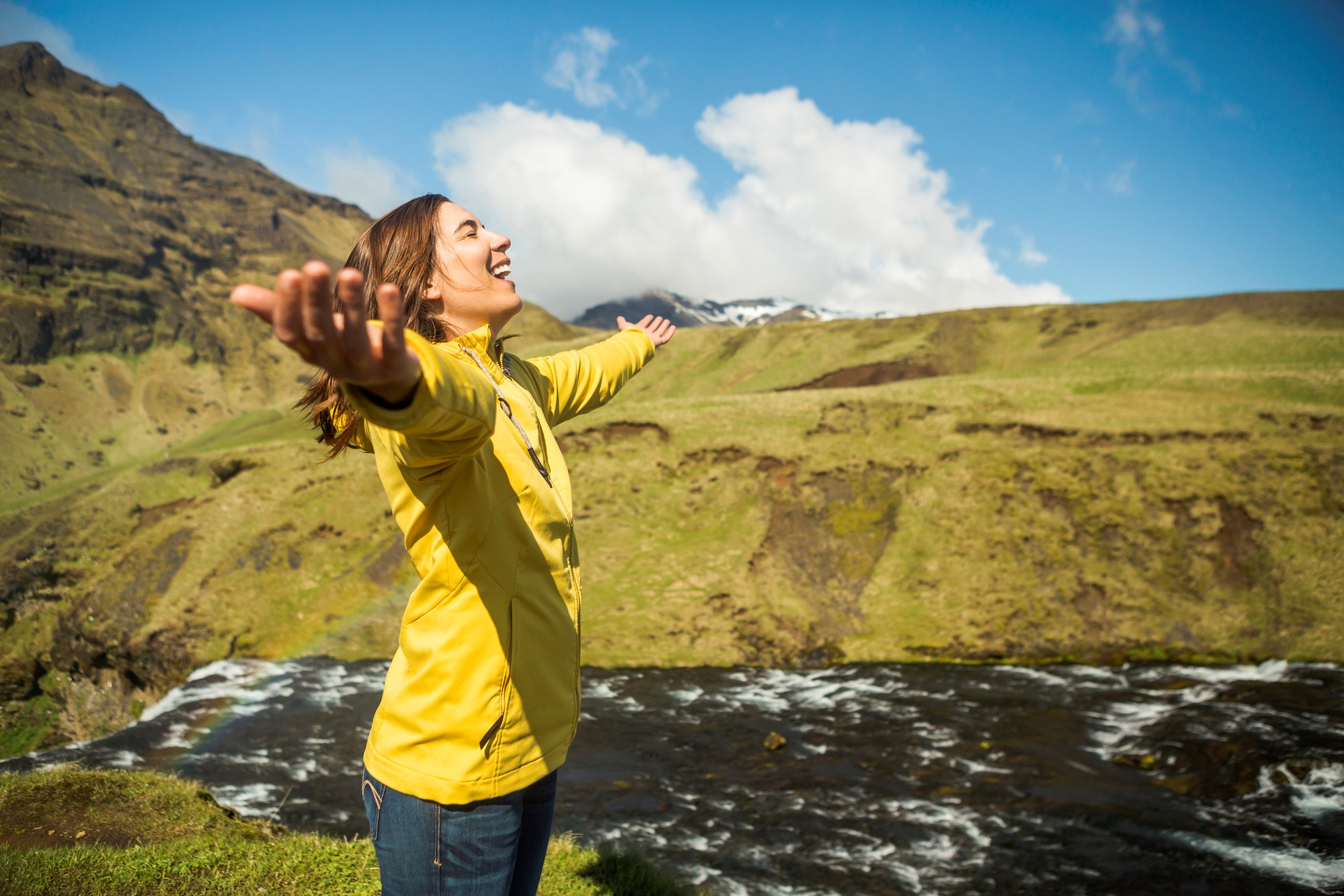 Woman celebrating being in Iceland