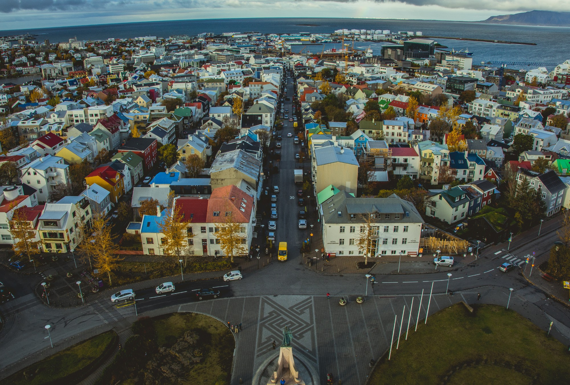 View of Reykjavík colourful rooftops