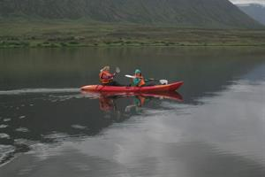 Kayaking on lake Miklavatn