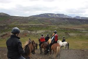Riding in the hills above Hveragerði village
