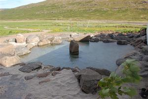 The warm natural pool at Heydalur