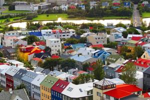 Colourful houses in Reykjavík city centre