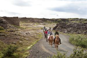 Horse riding with Íshestar surrounded by the lava