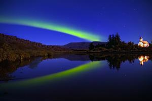 Northern lights at Þingvellir National Park